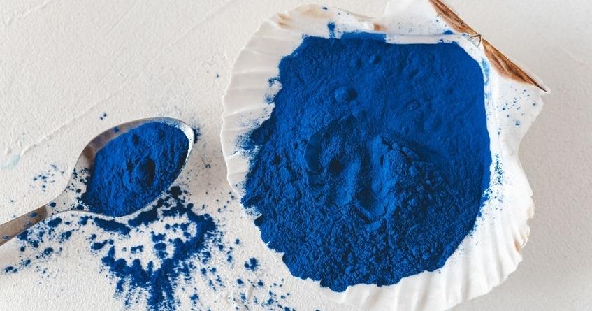 Blue Spirulina algae powder, healthy dietary supplement. - Blue Spirulina algae powder, healthy dietary supplement.